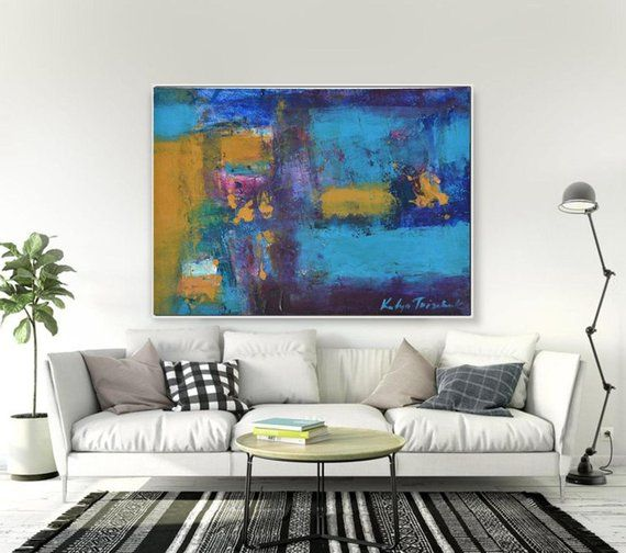 Cobalt Blue Wall Decor Abstract Art Giclee Canvas Print Or Original Oil Paper Painting 10x14 Small Blue Abstract Wall Art Trendy Wall Art Extra Large Wall Art