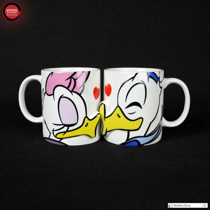 Disney Donald and Daisy Duck Lover Valentines Ceramics Pair Mug Couple Cup Pink Gift Box Set