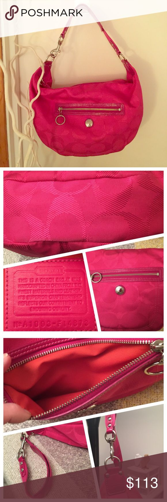 """❣️final MARKDOWN❣️Coach Hobo Bag 💕Outside Zip Pocket w/ Ring Pull.  Inside holds a Zip Pocket and 2 """"Pouch pockets"""" for Phone and Keys.  Lining is Solid Orange.  Silver Hardware.  8"""" Drop.  Measures 11""""H and the Width is approx 17"""" at the Top graduating to 11"""" at the Bottom.  Zip Closure.  Patent Leather Trim.  Excellent Condition. Coach Bags Hobos"""