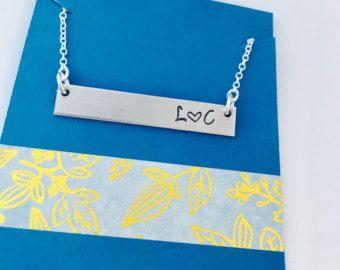 Initial Necklace, Monogram Bar Necklace, Childrens Initials Necklace, Family Necklace, Personalized Bar Necklace, Mom Necklace