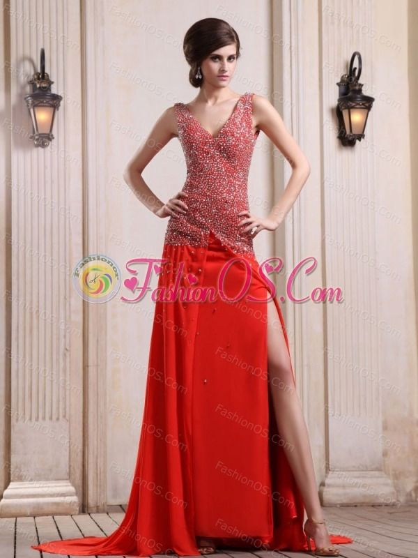 Red Prom / Evening Dress With Beaded Decorate Up Bodice High Slit Court Train Chiffon V-neck- $196.49  http://www.fashionos.com/   cheap sexy celebrity evening gown | junior plus size celebrity evening dresses | prom dress with free shipping | 2013 hot seller evening dresses | 2013 hottest prom gown | isla traquair dress |