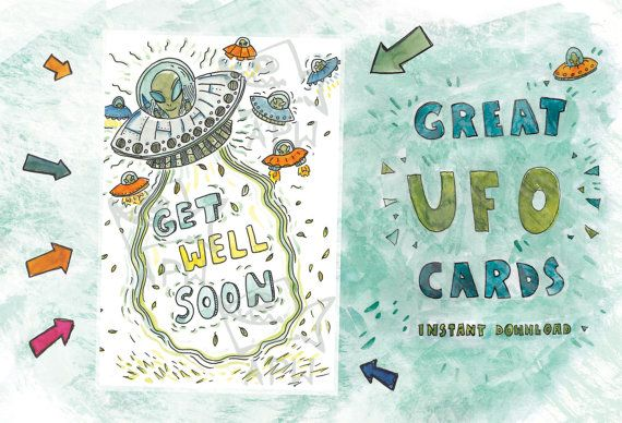Get Well Soon Card // Original card with UFO  // by PlankArt