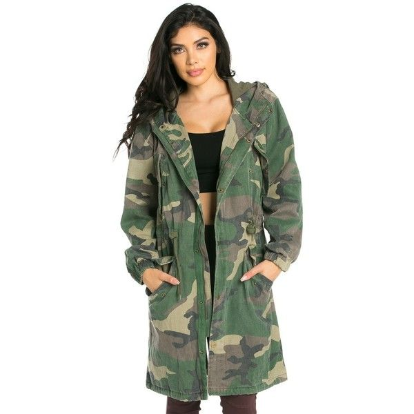 Hooded Longline Parka Coat in Camouflage ($45) ❤ liked on Polyvore featuring outerwear, coats, vintage coat, green parka coat, green parka, parka coats and camouflage parka