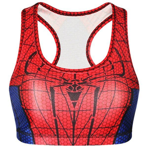 Womens Stylish U Neck Spider-Man Printed Tank Crop Top Red ($9.09) ❤ liked on Polyvore featuring tops, red, red top, red crop top, cut-out crop tops and crop top - visit to grab an unforgettable cool 3D Super Hero T-Shirt!