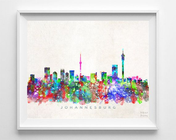 Johannesburg Skyline South Africa Print by InkistPrints on Etsy