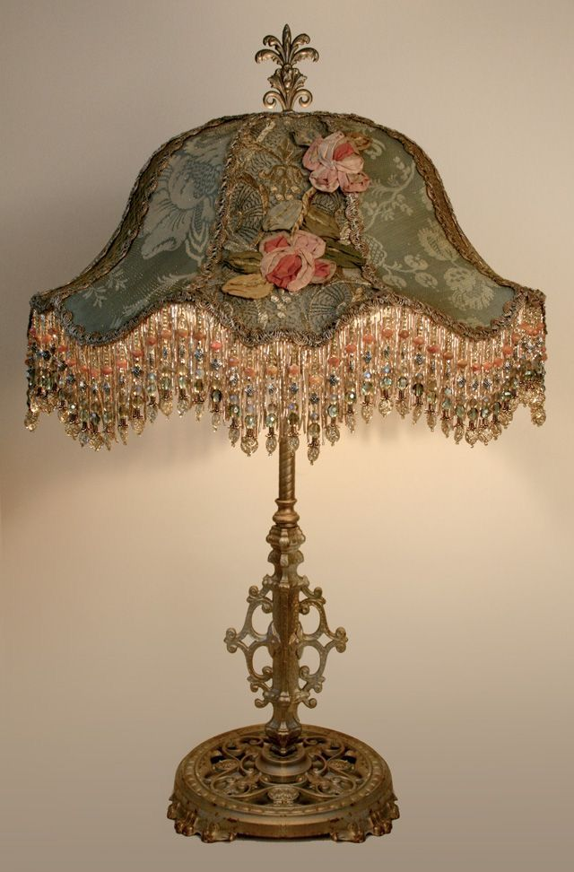 1920 S 1930 S Embroidered Flowers And Beads Table Lamp Victorian Lamps Victorian Lampshades Antique Lamps