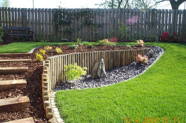 A sloping garden built by Wyld Landscapes by landscaper33, via Flickr