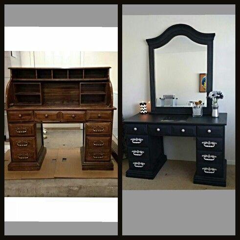 14 best images about vanity tables on pinterest diy makeup vanity lighted mirror and diy makeup - Diy mirrored vanity table ...