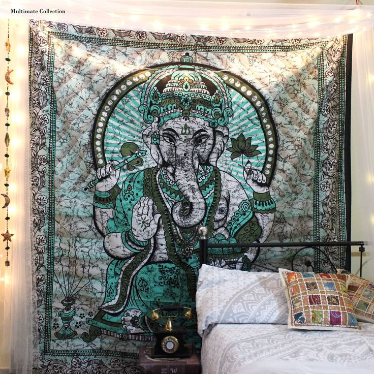 Add a trippy touch to your home or apartment by hanging this cool tapestry. This hippie Ganesha tapestry is handmade from 100% Cotton and vegan made. The colors used in this wall hanging or bedspread will match your bedroom decor. Buy this hippie tapestry from latest tapestry collection for bohemian and cool home decor.  This Tapestry wall hangings or beach tapestry can be used in Beach and picnics.