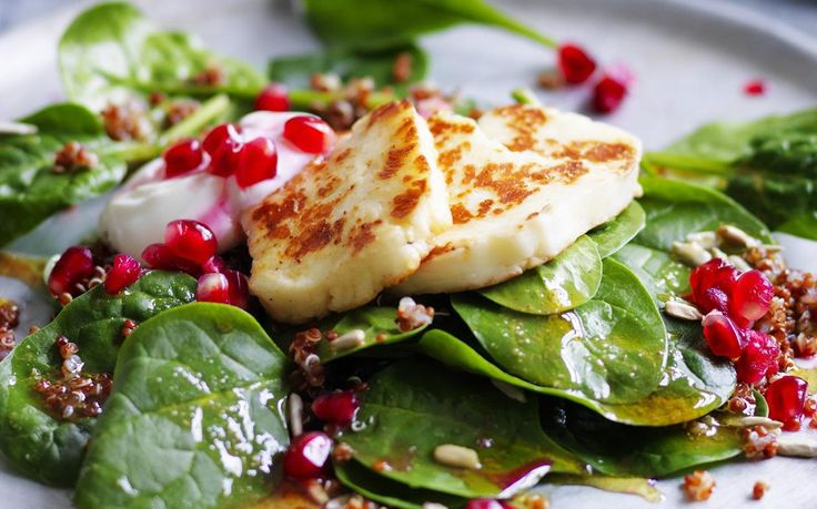 quinoa salad with haloumi and pomegranate