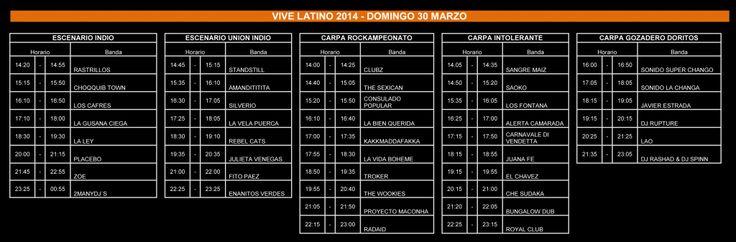 Por medio de sus redes sociales, los organizadores del Vive Latino 2014 anunciaron los horarios oficiales de este festival que durará del 27 al 30 de marzo.
