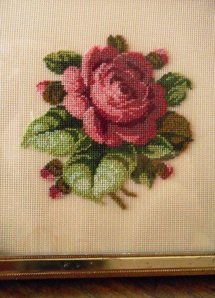 Vintage Petit-point Needlework Red Rose in Standing by WrathofRa