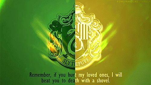 Slytherin and Hufflepuff hybrid badge // Remember if you hurt my loved ones, I will beat you to death with a shovel