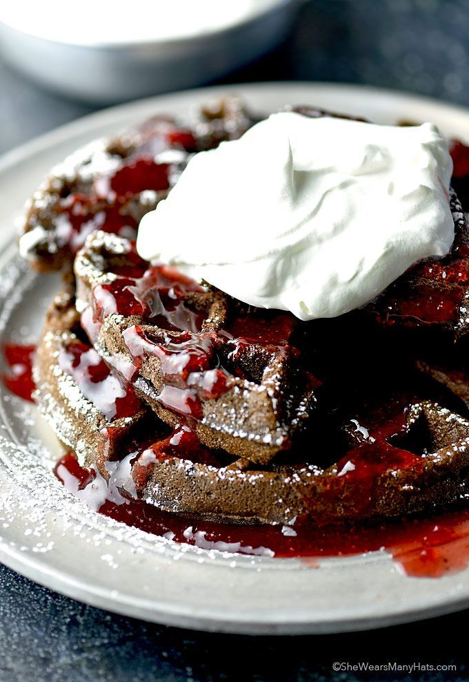Chocolate Whole Wheat Waffles Recipe | shewearsmanyhats.com
