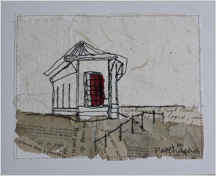 Belvédère cap coz - Collagraphie sur papiers anciens.  www.patchacha.fr