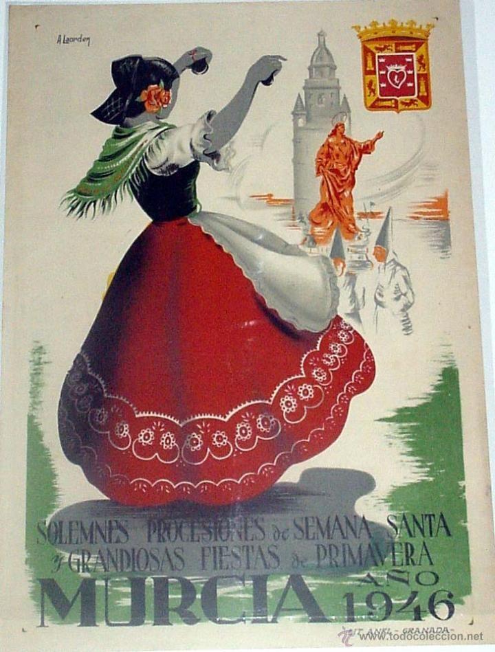 Carteles Feria: ANTIGUO CARTEL DEMURCIA SOLEMNES PROCESIONES DE SEMANA SANTA Y GRANDIOSAS FIESTAS DE PRIMAVERA 1946 - Foto 1 - 38281149