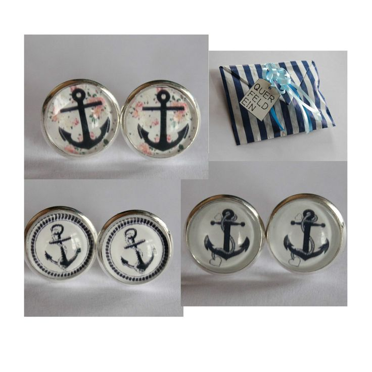 Ohrstecker Anker Maritim Meer Ostsee Cabochon Ohrring Vintage schwarz Dawanda