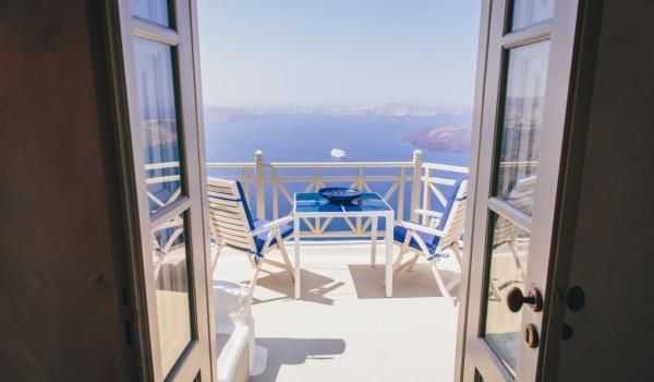 Breathtaking views of the azure waters below from each of the five levels at Iconic Santorini...