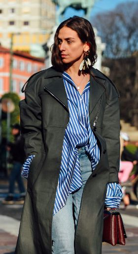 Street Style, Striped Shirt, MFW, Milan Fashion Week, Trench Coat, Tommy Ton
