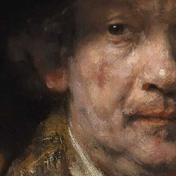 Rembrandt self portrait, warm/cool hues and detail of brush strokes.  Art-and-supplies.com