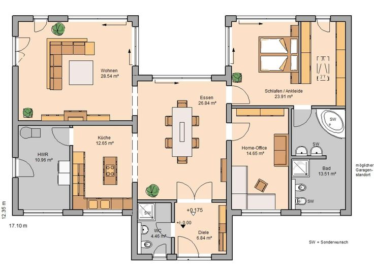 Grundriss bungalow mit integrierter garage  11 besten Grundriss Bungalow Bilder auf Pinterest | Grundriss ...