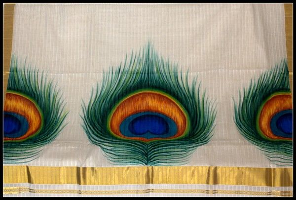 Kerala mural sarees peacock feathers peacock madness for Cost of mural painting