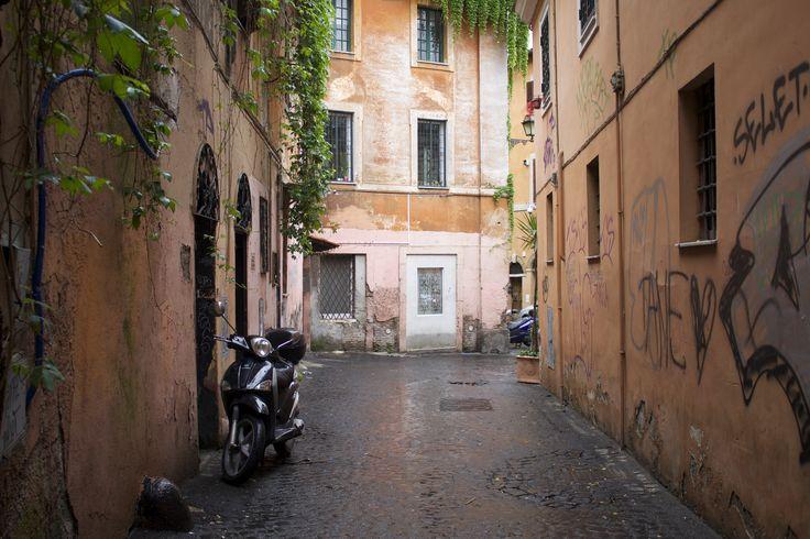 A rainy day in Rome, Italy #vespa #rain #street