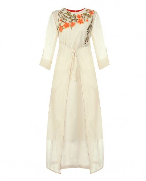 Off White Tunic with Floral Embroidery