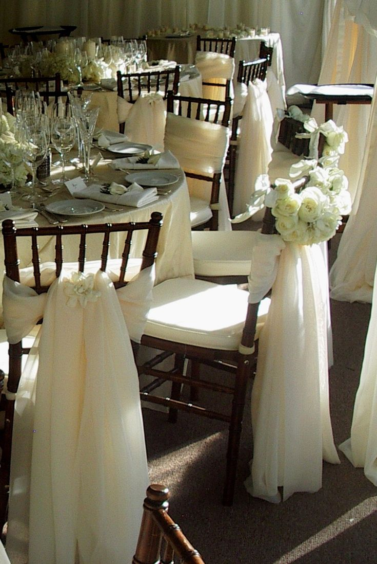 66 best chair bows and sashes images on pinterest for Decorating chairs for wedding reception