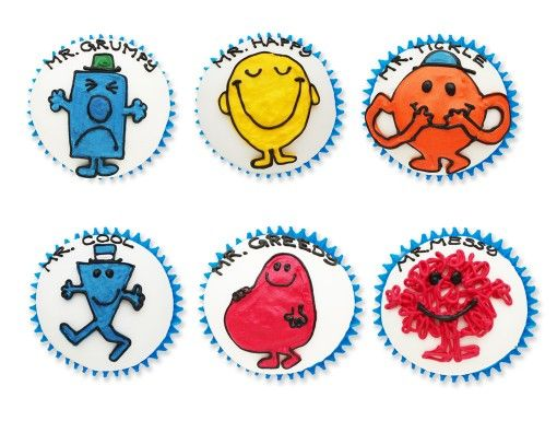 mr men cupcakes, cutout, biscuiteers, for delivery