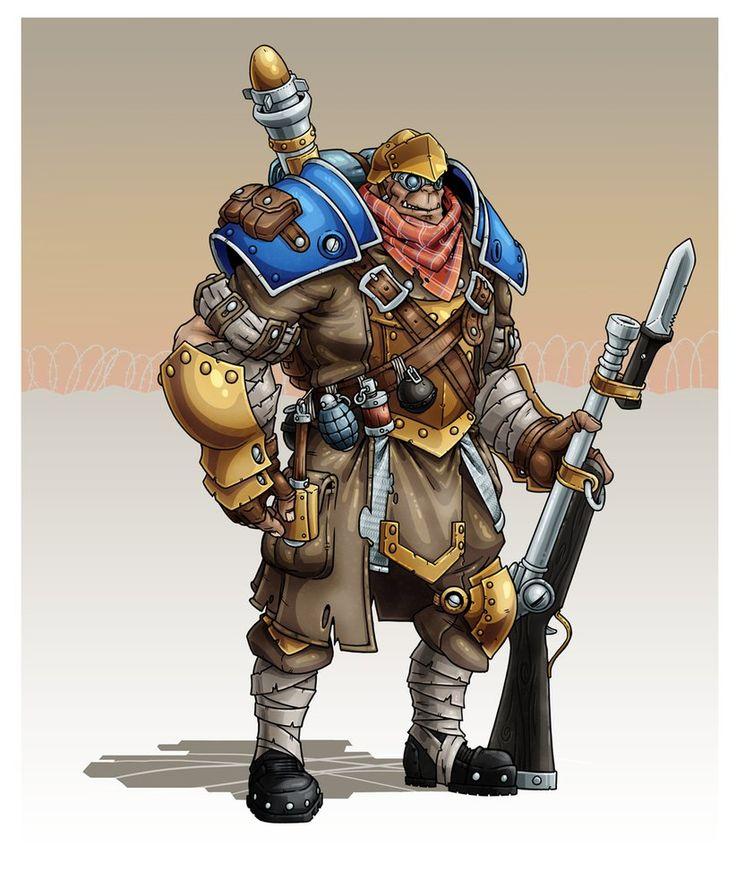 "Cygnar Ogrun ""Skilled"" Trencher/Master-Gunner. Gear: trencher infantry-armour; military-rifle w/ bayonet; grenade-rifle; frag/blast & smoke-grenades."