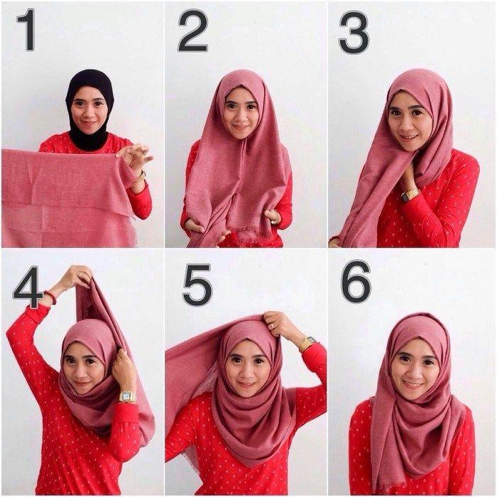 Tutorial Hijab Pashmina Untuk Baju Gamis Dengan Gambar Gaya