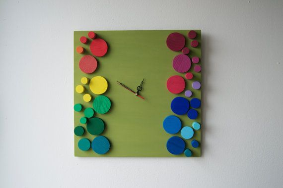 Deco Rainbow bubbles / Wood wall clock / Geometric by DecoBoxRo, $98.00
