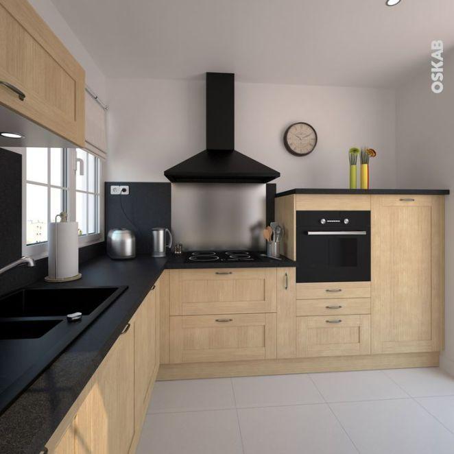 Idée relooking cuisine Cuisine cottage en bois brut implantation en L plan travail béton gris créd