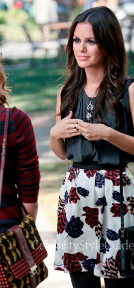 Seen on Celebrity Style Guide: Hart of Dixie Fashion: Rachel Bilson as Zoe Hart wears this pleated skirt with contrast waistband and all-over tulip print on Hart of Dixie Episode Something to Talk About....Get It Here: http://rstyle.me/~1iPYS