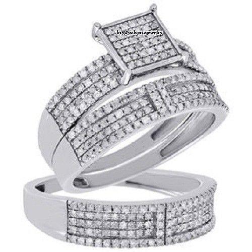 Diamond Trio Set His & Hers Matching Engagement Ring Wedding Band 14k White Gold #br925Silverczjewelry #EngagementWeddingAnniversaryPartyDailyWear