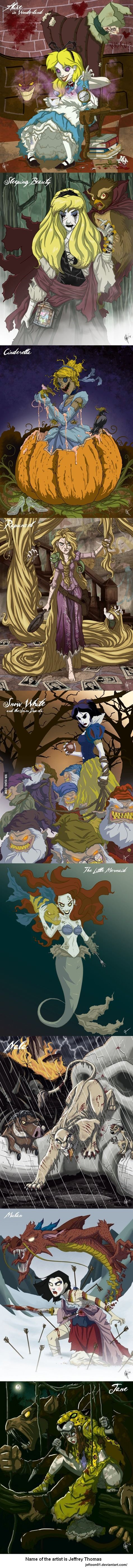 Twisted Disney Princesses and other Disney characters.