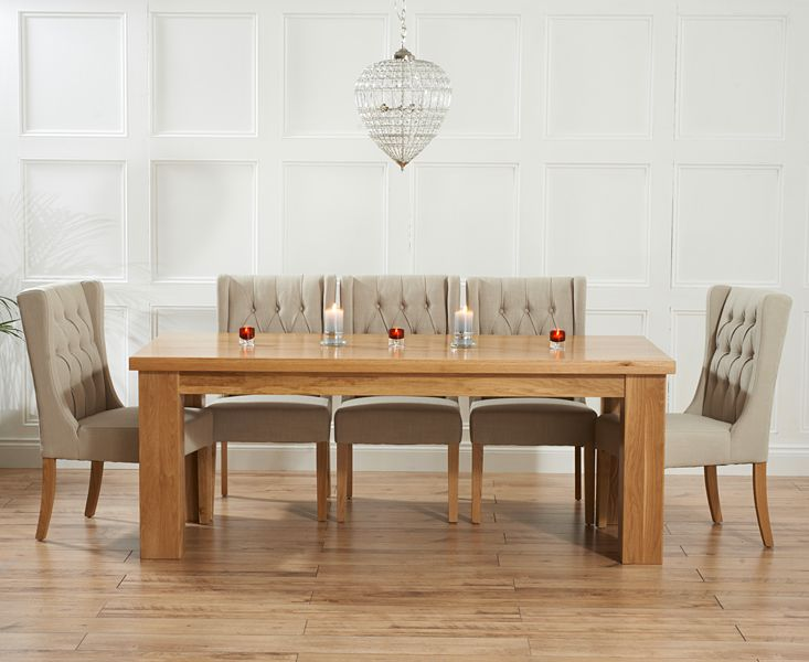 Kentucky 200cm Solid Oak Dining Table with Safia Fabric Chairs