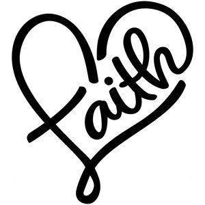 Faith Heart Silhouette Design Mini Canvas Art
