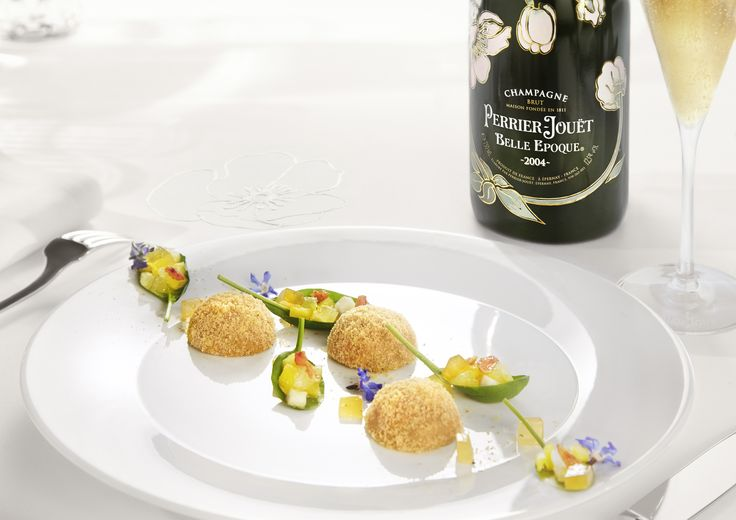 Good news? Celebrate with elegance. Petite foie gras domes with lemon jelly cubes on fresh spinach leaves perfectly compliment a toast with Perrier-Jouët Belle Epoque 2004. #perrierjouet Please Drink Responsibly