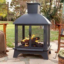 Outdoor Patio Fireplace Wood Burning Fire Pit Chiminea Deck Backyard Heater New