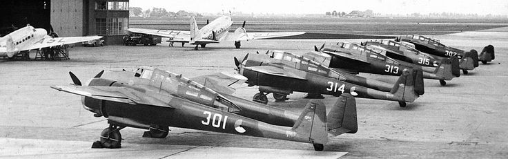 Dutch Fokkers G.1`s at Schiphol, 1939