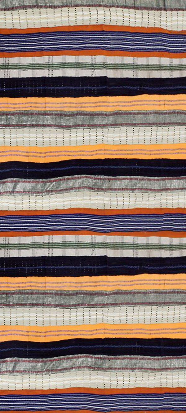 Handmade African Asoke Fabric - Asoke is a strong fabric worn by the Yoruba people of Nigeria. The luxurious material is worn for special occasions. When making this Asoke fabric, each strip is woven and bound together that creates an uneven looking weave. A variety of patterns and colors are used and includes many other types of material such as cotton, polyester and silk. #africa #african #fabric #sewing #sew #homedecor #design #stripes #africanpattern