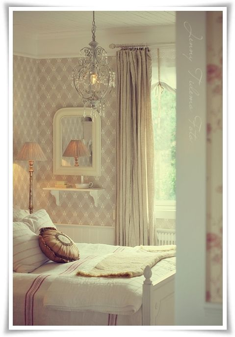 Bedroom.  Guest Bedroom Bedding Mirror Shelf Lamp Window Treatment Whitewashed Cottage chippy shabby chic French country rustic swedish decor idea