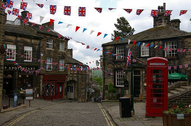 English village and bunting - perfection. Haworth, UK
