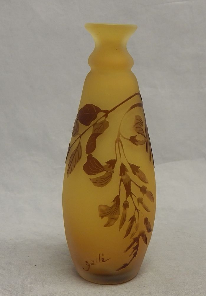 """Beautiful Emile Galle Cameo Glass 5"""" Yellow Vase"""