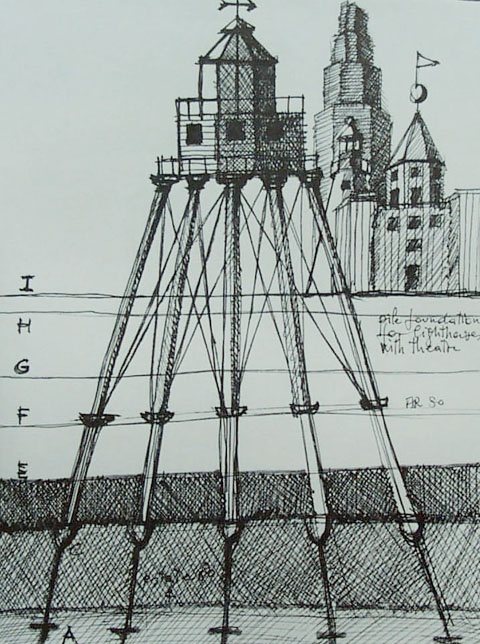 Pile foundation for lighthouses with theater, 1980  Rossi