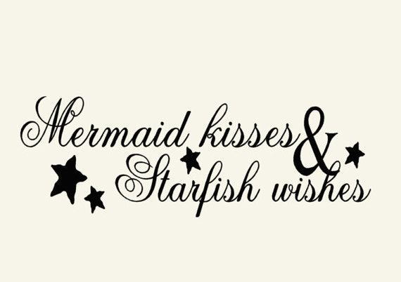 Mermaid Beach Decor Wall Decal  4 feet long X 14 inch Tall  bathroom decor, wall decor words on Etsy, $29.00