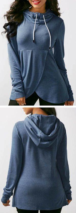 Blue Long Sleeve Asymmetric Hem Hoodie.