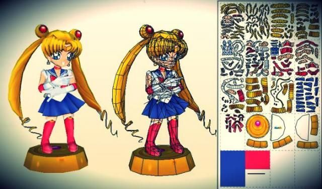 Sailor Moon Paper Doll In Chibi Style - by Paper Mike - == - By French designer Mike, from Paper Mike website, here is Sailor Moon, in a cute Chibi style paper doll version. To view and print this model you will need Pepakura Viewer Free Version (link at the end of this post).